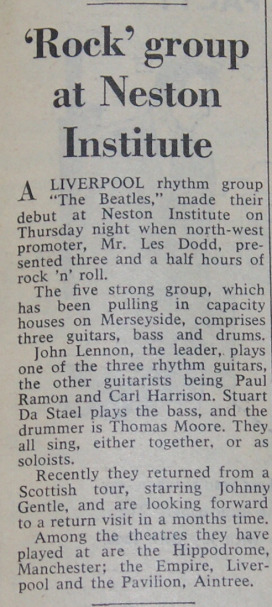 The Beatles in Neston, the first time the group had use The Beatles name in print
