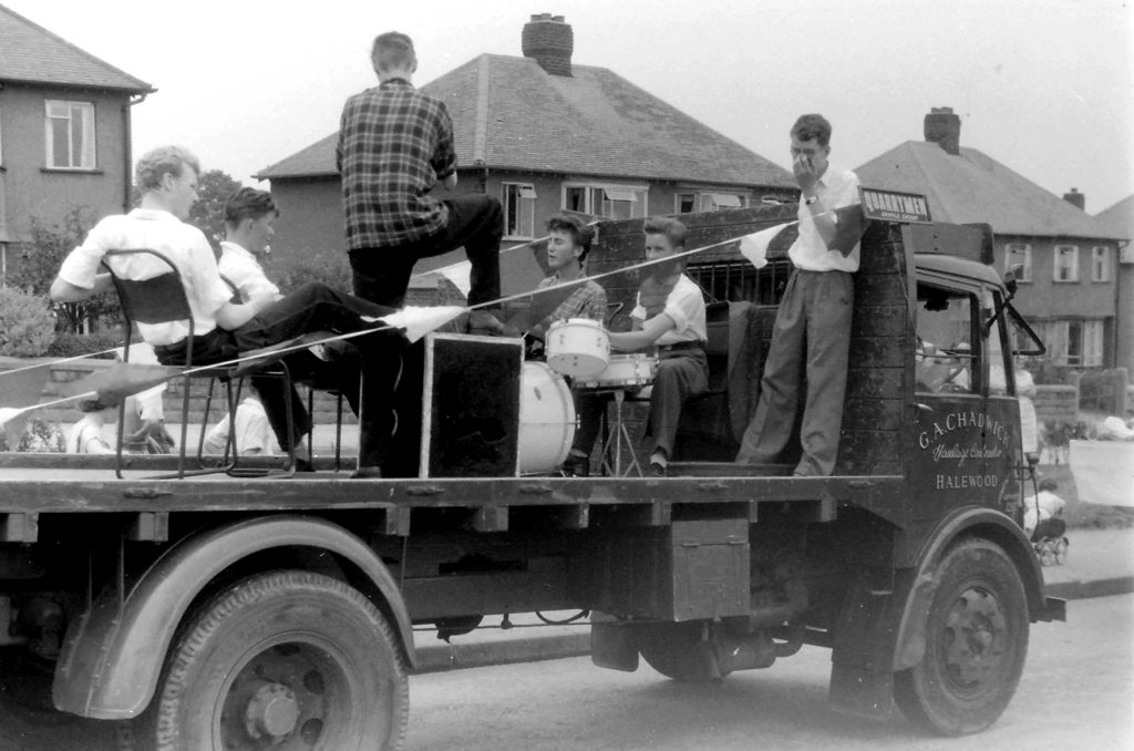 The Quarrymen in the parade on 6th July 1957