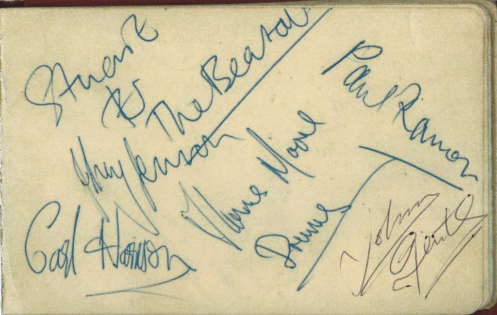 Evidence that they used the name The Beatals in autographs; Johnny Lennon, Carl Harrison, Paul Ramon, Stuart de Stael and Thomas Moore, with Johnny Gentle