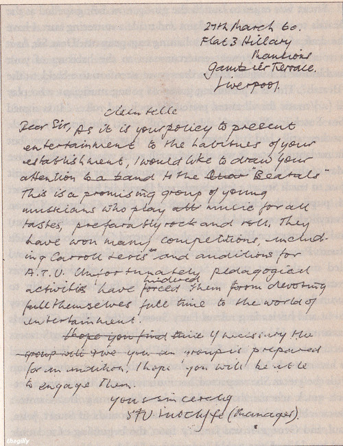 Letter from Stuart Sutcliffe mentioning Beatals