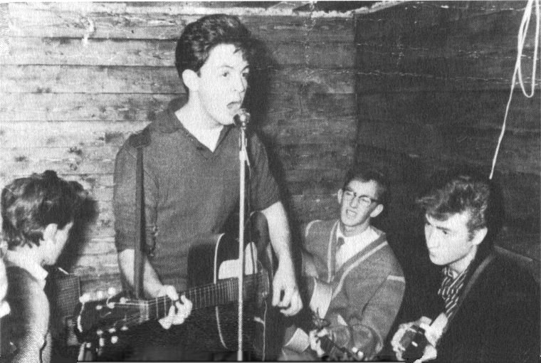 The Quarrymen open the Casbah; George Harrison, Paul McCartney, Ken Brown and John Lennon