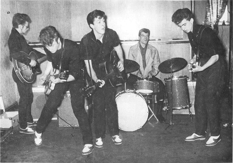 "The Silver Beatles, John Lennon, Paul McCartney, George Harrison, Stuart Sutcliffe with Johnny ""Hutch"" Hutchinson"