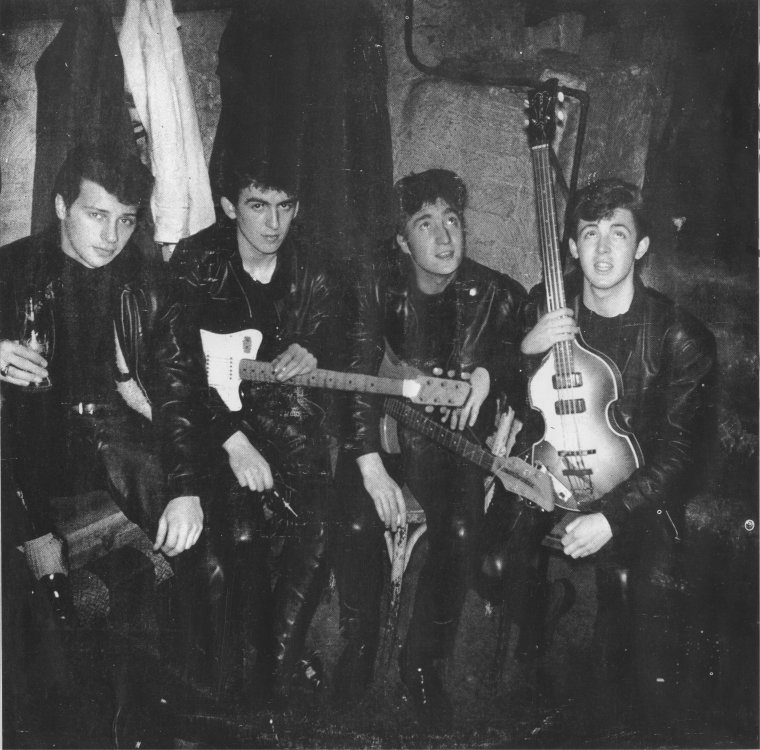 The Beatles at the Cavern Club in 1961; Pete Best, George Harrison, John Lennon and Paul McCartney