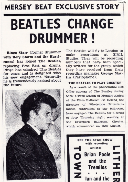 Beatles Change Drummer is how Mersey Beat announced that Pete Best had left The Beatles