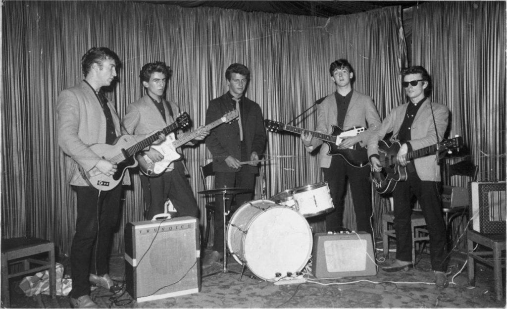 The Beatles - John Lennon, George Harrison, Pete Best, Paul McCartney and Stuart Sutcliffe in Hamburg 1960