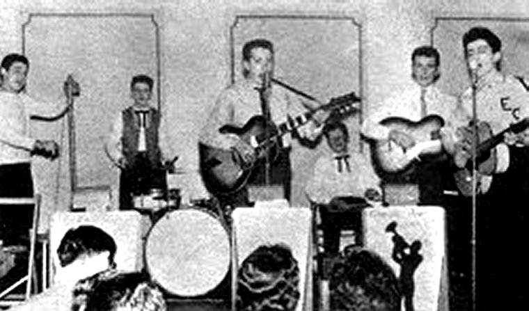 Ringo at the back, with the Eddie Clayton Skiffle Group. Roy Trafford explains how Ringo became The Beatles drummer