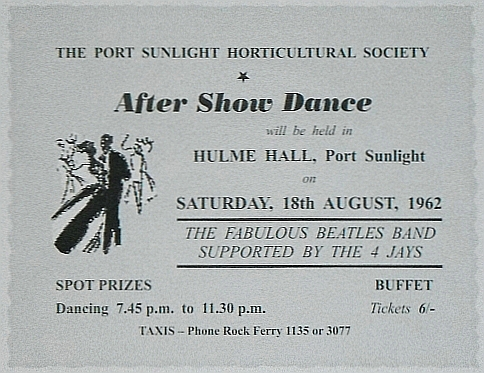Ticket for Ringo's debut with The Beatles at Hulme Hall