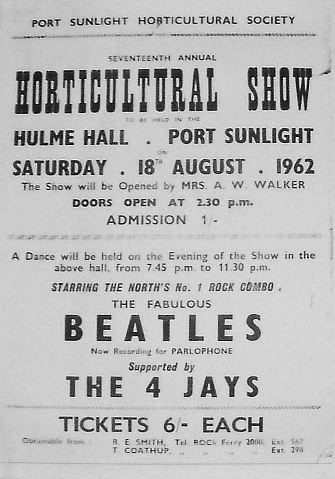 Poster for Ringo's debut at Hulme Hall with The Beatles