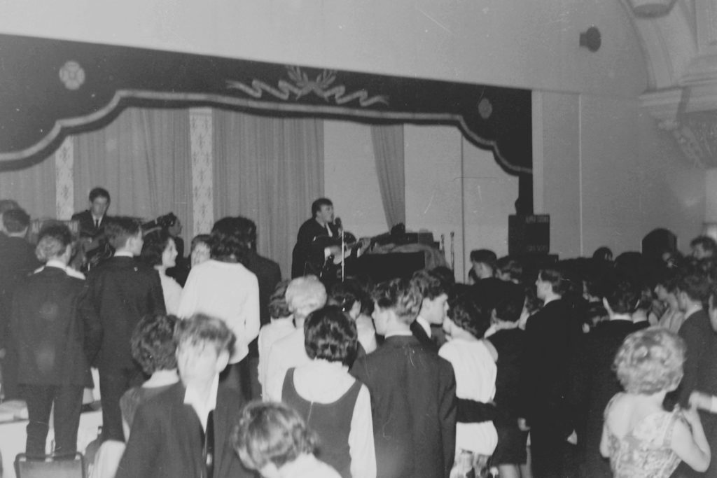 Gerry and the Pacemakers on stage at Hulme Hall