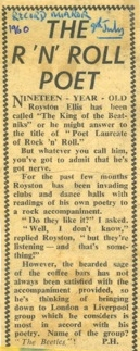 Record Mirror where Royston Ellis refers to the Beatles, but showing the spelling of The Beetles, and how they could come down to London