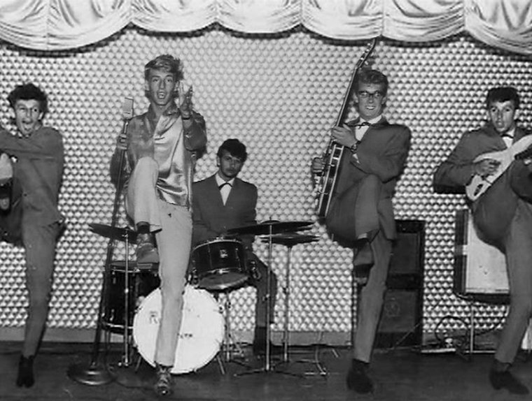 Ringo (centre) with Rory Storm and the Hurricanes. Ringo explains how he became The Beatles drummer