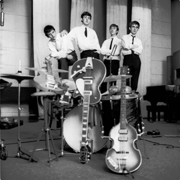 Ringo, Paul, John and George pose at EMI Studios on 4th September 1962