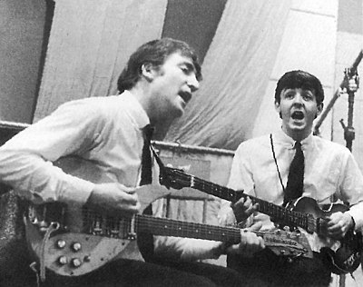 John and Paul are photographed in EMI Studios by Dezo Hoffmann
