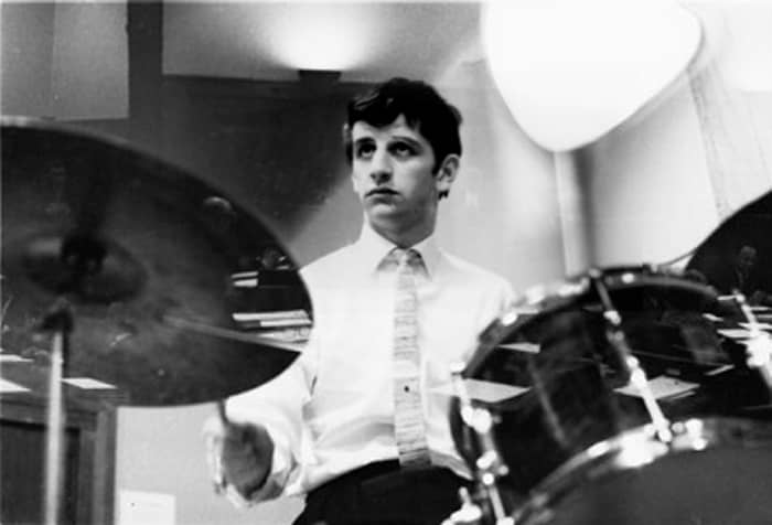 Ringo Starr drumming in EMI Studios, Abbey Road