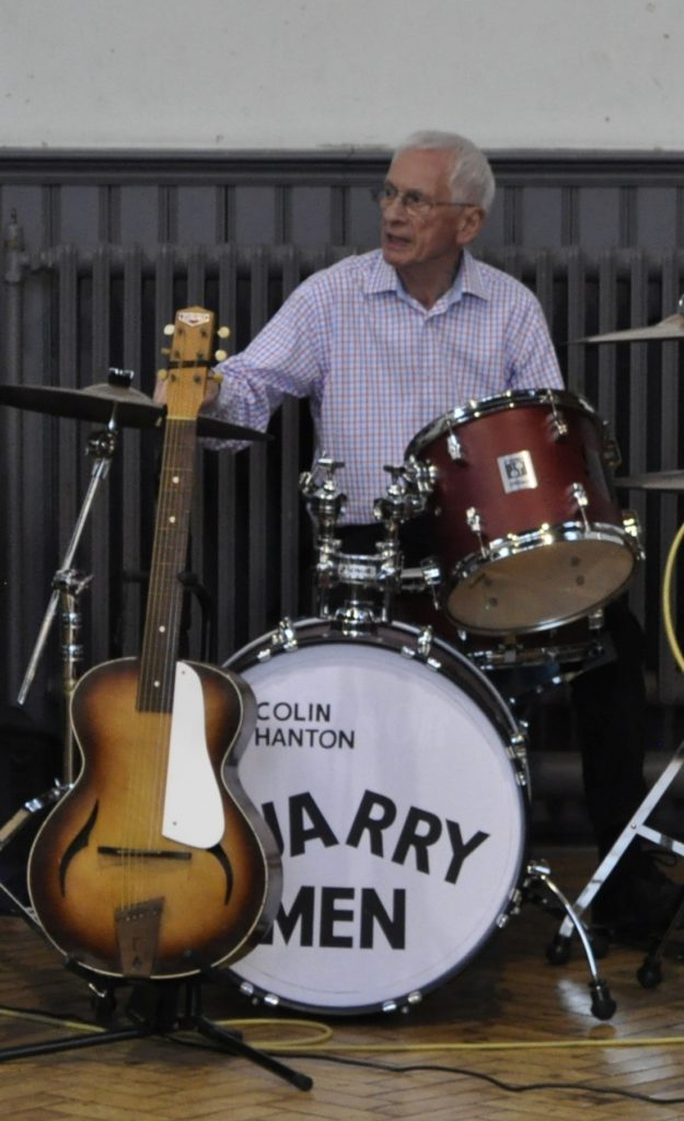 Colin still plays drums with The Quarrymen (photographed in St Peter's Church Hall)