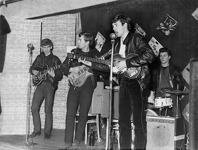The Beatles on stage in Aldershot